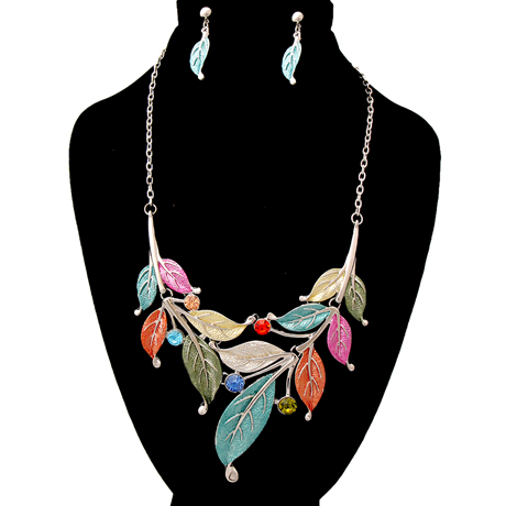 Upscale Jewelry AJN3042MLTRD ( Leaf Necklace And Earring Set )
