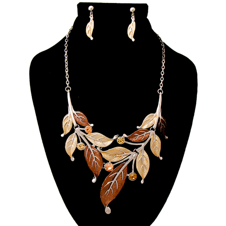 Upscale Jewelry AJN3042BRORD ( Leaf Necklace And Earring Set )