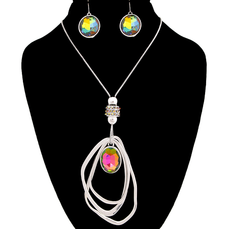 Upscale Jewelry AJN2413MLTRD ( Crystal Rhinestone Necklace And Earring Set Featuring Layered Organic Teardrop Pendant )