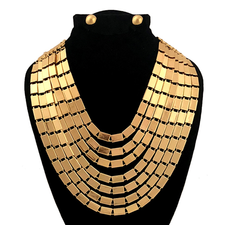 Upscale Jewelry JKN1056GLDGD ( Multi Strand Layered Rectangular Linked Chain Necklace Set )