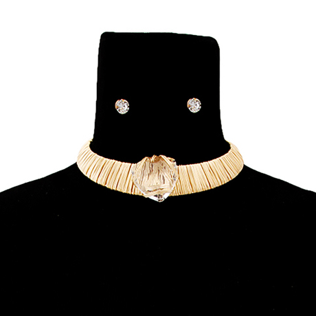 Upscale Jewelry JKN2108TPZGD ( Metal Wire Wrapped Choker Set With Clear Crystal )
