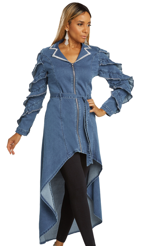 DV Jeans 8436-BL ( 1pc Embellished Stretch Denim High-Low Tunic With Elaborate Rhinestone Trim Design )