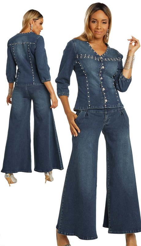 DV Jeans 8434-DB ( 2pc Embellished Stretch Denim Pant Set With Elaborate Rhinestone Trim Design And Rhinestone Buttons )