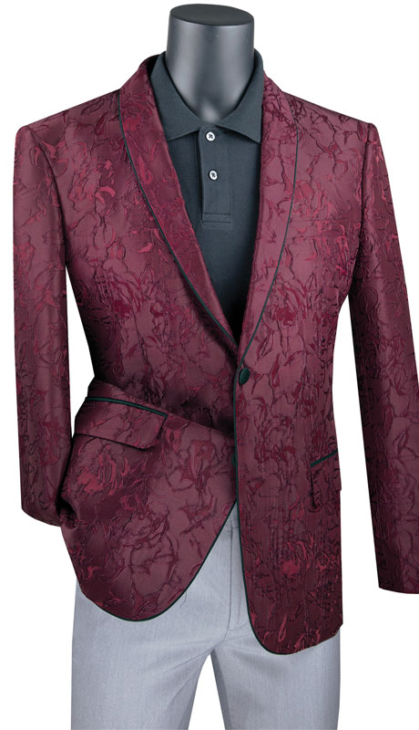 Vinci Mens Coat BFS-10- BU ( 1pc Single Breasted 2 Button Sport Coat With Side Vents And Floral Pattern )