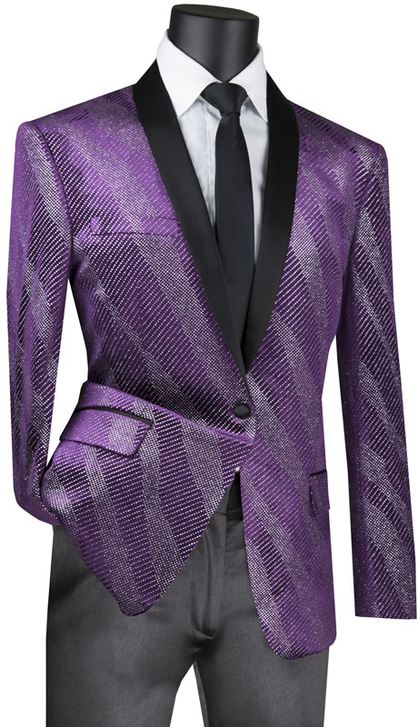 Vinci Mens Coat BS-15-PU ( 1pc Single Breasted 1 Button Sparkle Velvet Sport Coat With Side Vents )