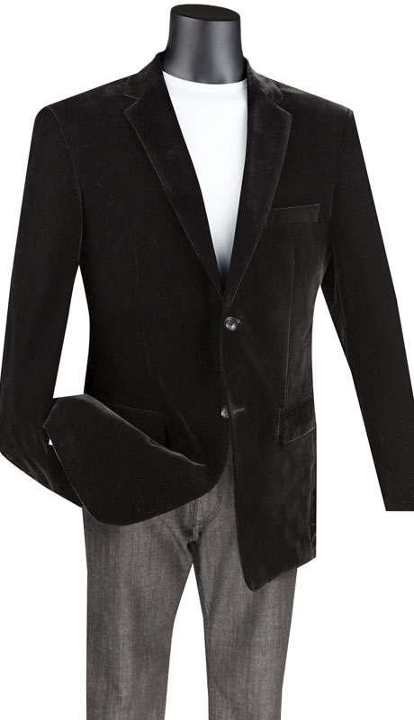 Vinci Mens Coat B-27-BL ( 1pc Single Breasted 2 Button Solid Velvet Sport Coat With Side Vents )
