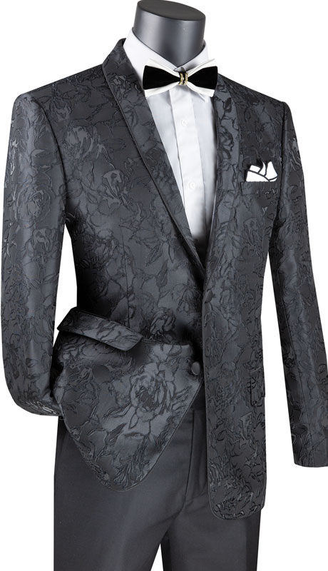 Vinci Mens Coat BFS-10-BL ( 1pc Single Breasted 2 Button Sport Coat With Side Vents And Floral Pattern )