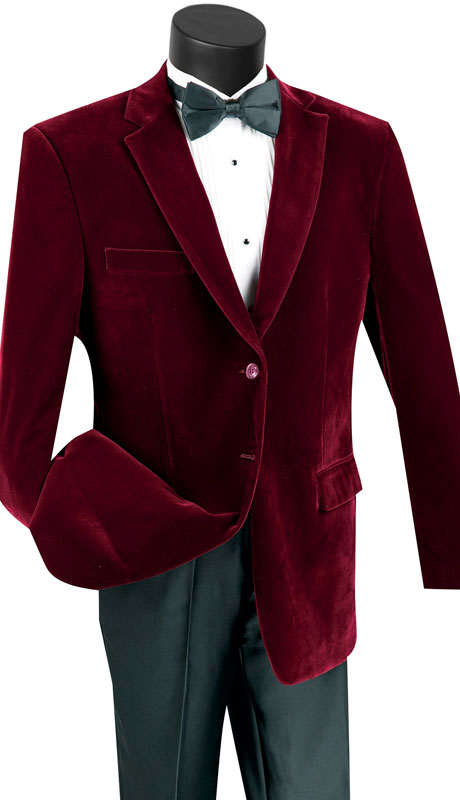 Vinci Mens Coat B-27-WI ( 1pc Single Breasted 2 Button Solid Velvet Sport Coat With Side Vents )