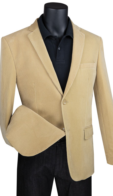 Vinci Mens Coat B-CORD-KH ( 1pc Single Breasted 2 Button Corduroy Sport Coat With Side Vents )