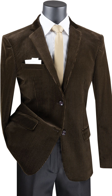 Vinci Mens Coat B-CORD-BR ( 1pc Single Breasted 2 Button Corduroy Sport Coat With Side Vents )