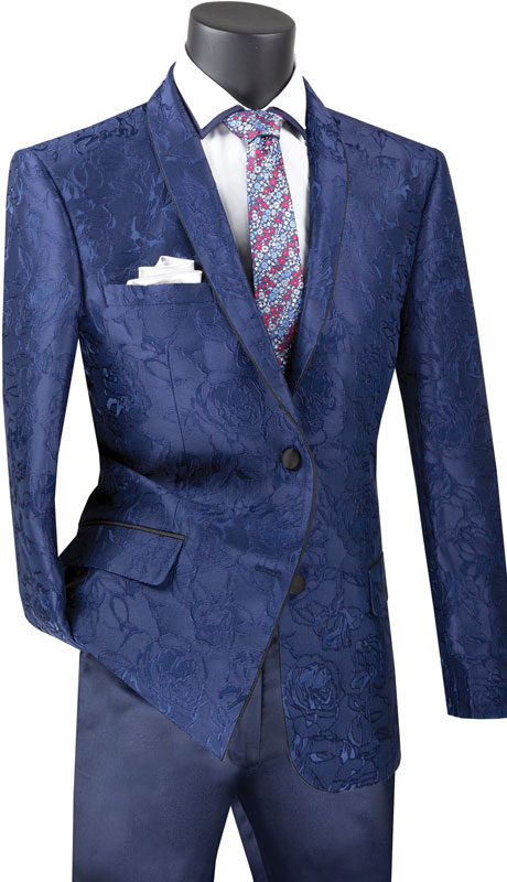 Vinci Mens Coat BFS-10-NA ( 1pc Single Breasted 2 Button Sport Coat With Side Vents And Floral Pattern )