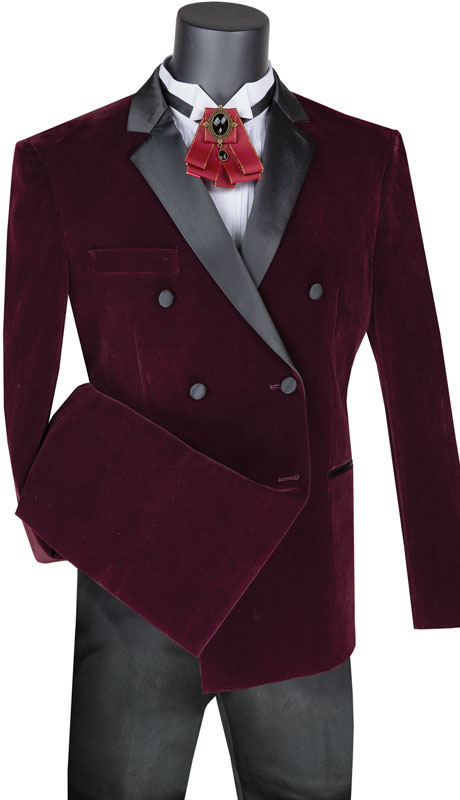 Vinci Mens Coat WDB2014P-WI ( 1pc Solid Velvet Double Breasted Sport Coat With Side Vents )