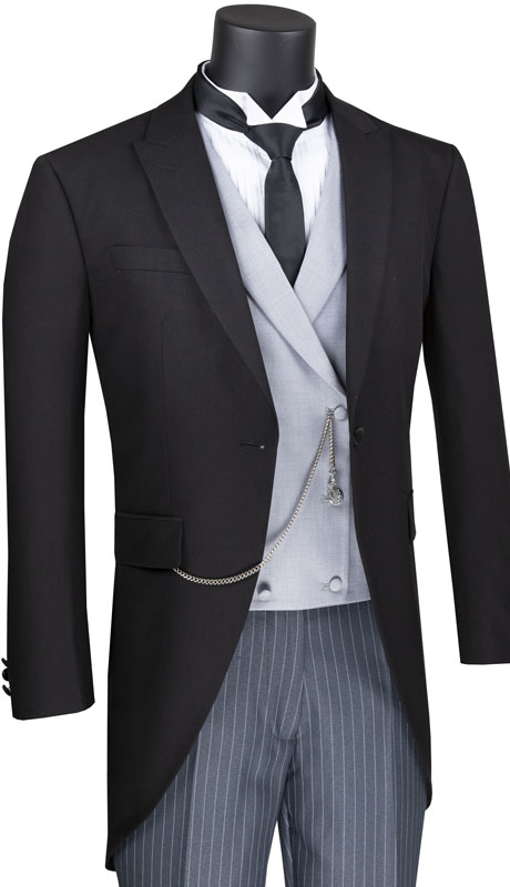 Vinci Mens Suit MTC-1-BL ( 3pc Tuxedo With Tail, Double Breasted Vest And Stripe Flat Front Pants )