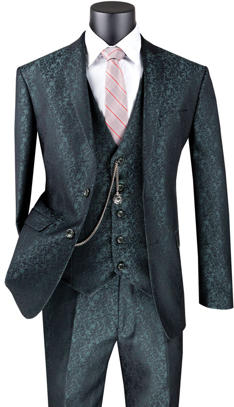 Vinci Mens Suit SVFF-3-PI ( 3pc Single Breasted 1 Button With Fancy Vest, Side Vents, Flat Front Pants, Floral Pattern )