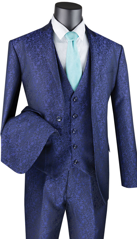 Vinci Mens Suit SVFF-3-NA ( 3pc Single Breasted 1 Button With Fancy Vest, Side Vents, Flat Front Pants, Floral Pattern )