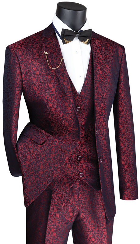 Vinci Mens Suit SVFF-3-RU ( 3pc Single Breasted 1 Button With Fancy Vest, Side Vents, Flat Front Pants, Floral Pattern )