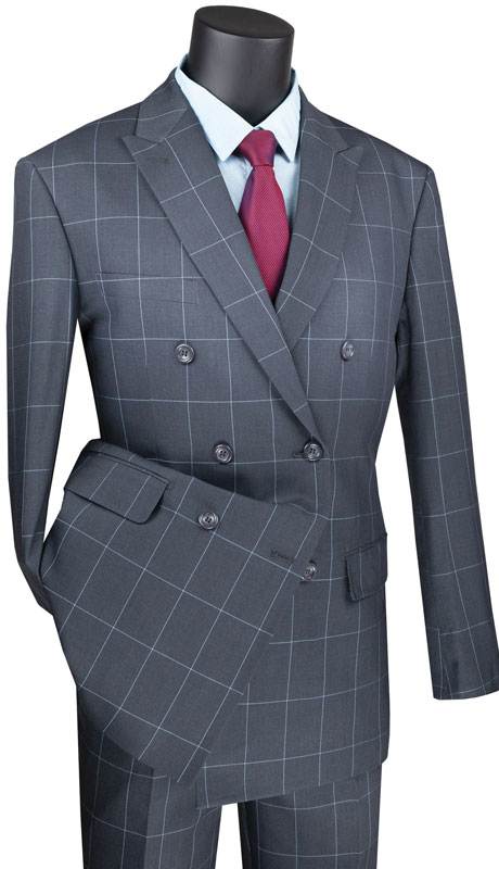 Vinci Mens Suit MDW-1-GR ( 2pc Double Breasted 2 Button Side Vents, Flat Front Pants And Window Pane )