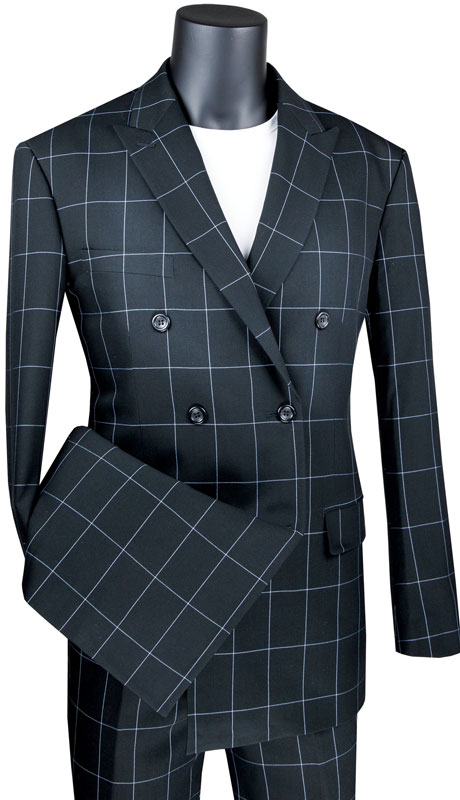 Vinci Mens Suit MDW-1-BL ( 2pc Double Breasted 2 Button Side Vents, Flat Front Pants And Window Pane )