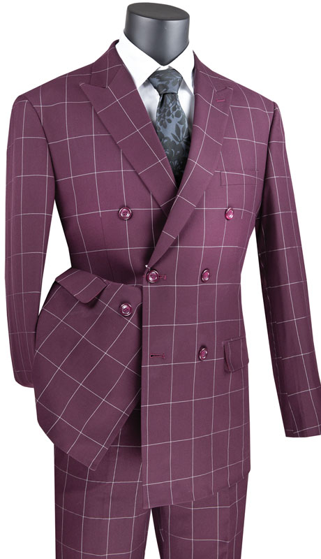 Vinci Mens Suit MDW-1-WI ( 2pc Double Breasted 2 Button Side Vents, Flat Front Pants And Window Pane )