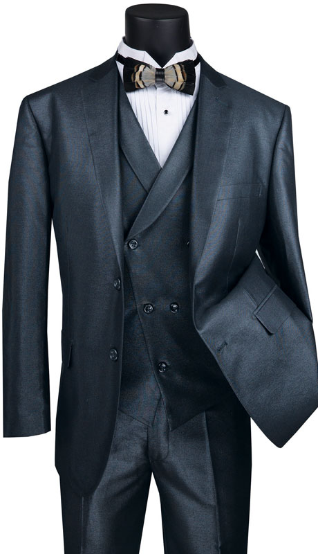 Vinci Mens Suit MV2R-1-MI ( 3pc Single Breasted 2 Button Sharkskin Suit With Side Vents And Flat Front Pants )