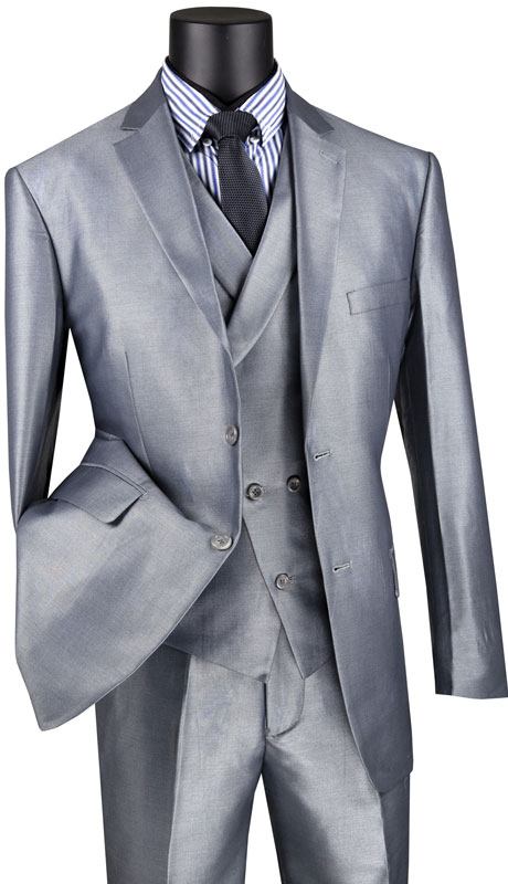 Vinci Mens Suit MV2R-1-GR ( 3pc Single Breasted 2 Button Sharkskin Suit With Side Vents And Flat Front Pants )