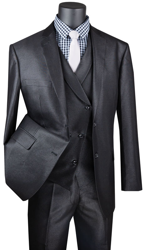 Vinci Mens Suit MV2R-1-BL ( 3pc Single Breasted 2 Button Sharkskin Suit With Side Vents And Flat Front Pants )
