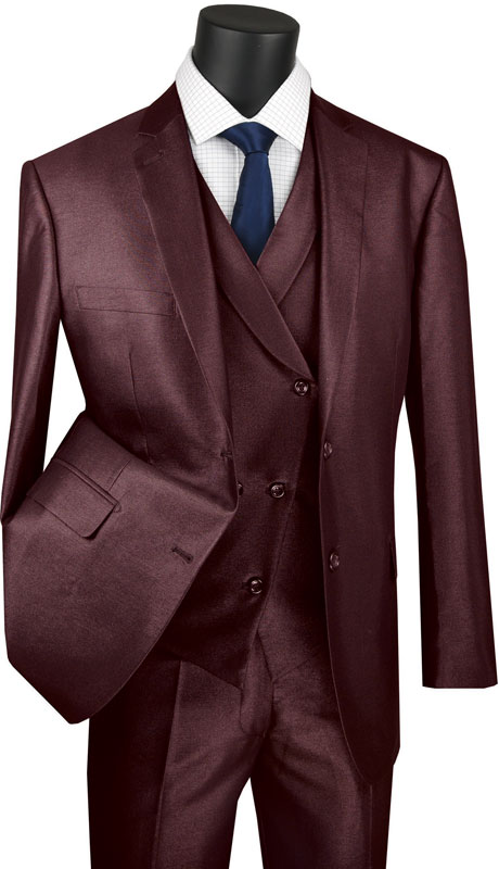 Vinci Mens Suit MV2R-1-BU ( 3pc Single Breasted 2 Button Sharkskin Suit With Side Vents And Flat Front Pants )
