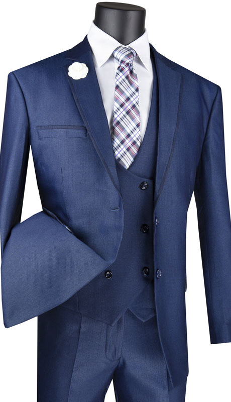 Vinci Mens Suit MV2B-1-NA ( 3pc Single Breasted 2 Buttons With Side Vents And Flat Front Pants )