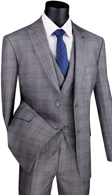 Vinci Mens Suit MV2W1-GR ( 3pc Single Breasted 2 Buttons With Side Vents, Peak Lapel And Flat Front Pants )