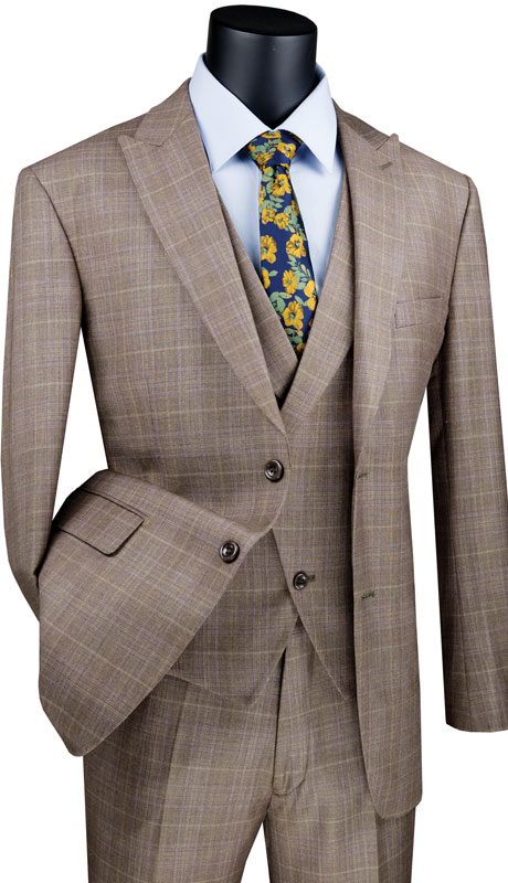 Vinci Mens Suit MV2W1-TA ( 3pc Single Breasted 2 Buttons With Side Vents, Peak Lapel And Flat Front Pants )