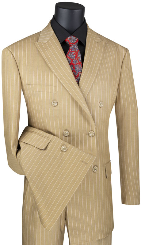 Vinci Mens Suit DSS-4-CA ( 2pc Double Breasted, 6x2, Side Vents, Pleated Pant And Stripes )