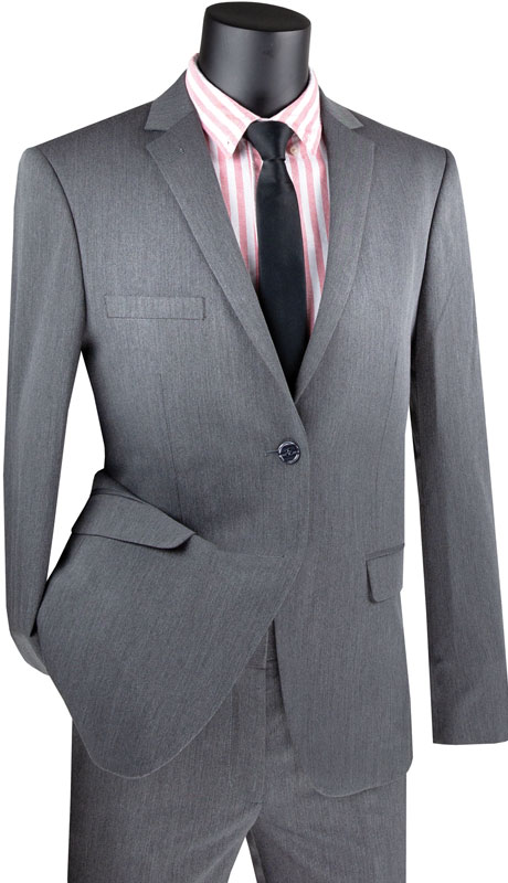 Vinci Mens Suit USDX-1-CH ( 2pc Single Breasted 2 Button Suit, Side Vents, Slim Flat Front Pants )