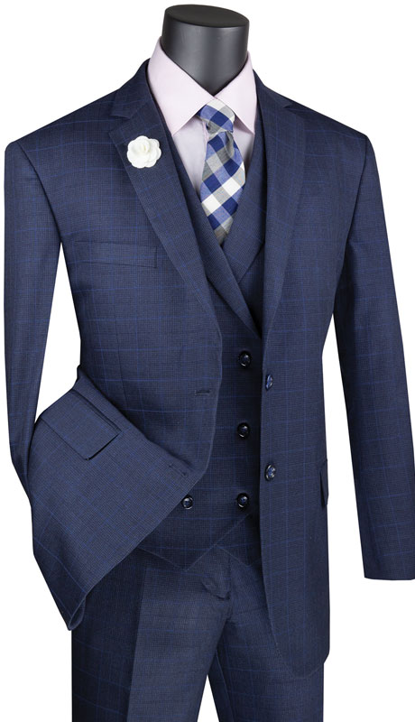 Vinci Mens Suit V2RW-13-NA ( 3pc Single Breasted 2 Button Suit, Side Vents And Flat Front Pants )