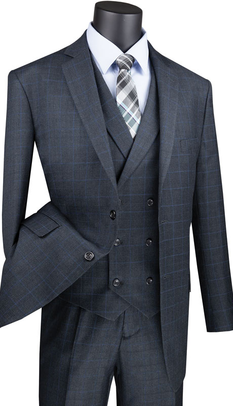 Vinci Mens Suit V2RW-13-CH ( 3pc Single Breasted 2 Button Suit, Side Vents And Flat Front Pants )