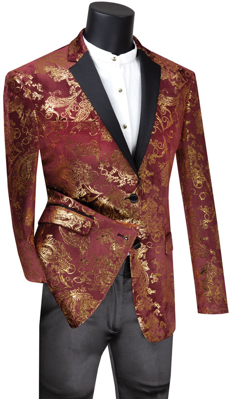 Vinci Mens Coat BS-13-MG ( 1pc Single Breasted 2 Button Sport Coat With Side Vents And Floral Pattern )