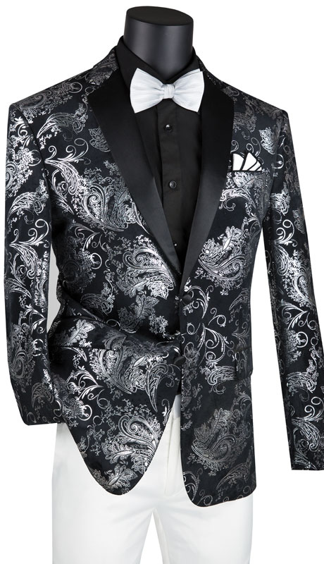 Vinci Mens Coat BS-13-SB ( 1pc Single Breasted 2 Button Sport Coat With Side Vents And Floral Pattern )