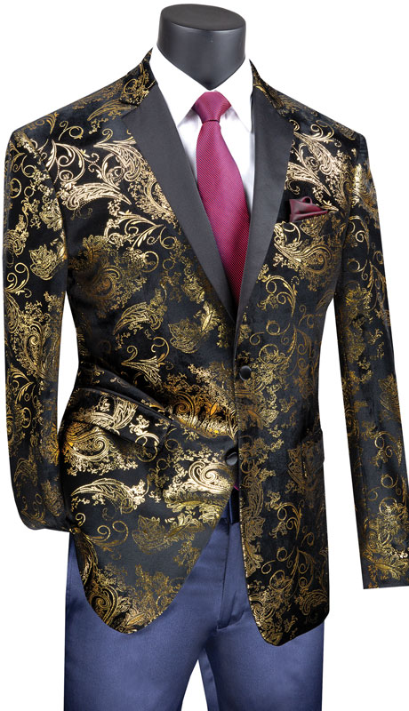 Vinci Mens Coat BS-13-BG ( 1pc Single Breasted 2 Button Sport Coat With Side Vents And Floral Pattern )