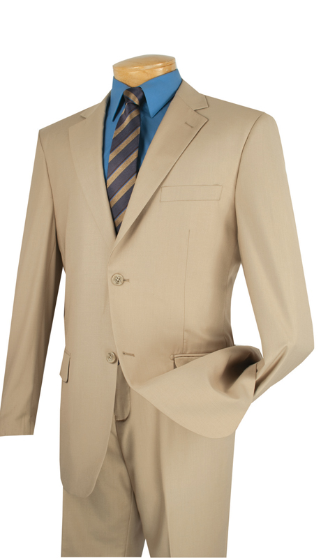 Vinci Mens Suit 2C900-2-LB  ( 2pc  Single Breasted Two Buttons, Side Vents, Flat Front Pants, Solid Color )