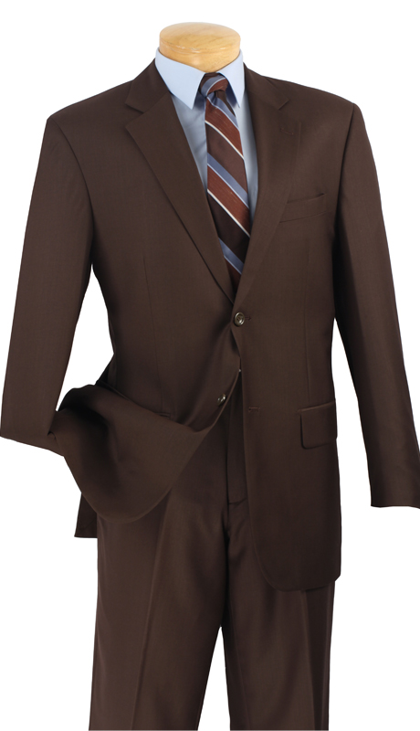 Vinci Mens Suit 2C900-2-BR  ( 2pc  Single Breasted Two Buttons, Side Vents, Flat Front Pants, Solid Color )