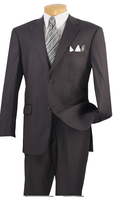 Vinci Mens Suit 2C900-2-HG  ( 2pc  Single Breasted Two Buttons, Side Vents, Flat Front Pants, Solid Color )