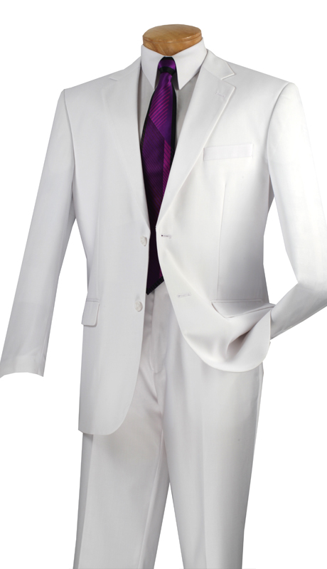 Vinci Mens Suit 2C900-2-WH  ( 2pc  Single Breasted Two Buttons, Side Vents, Flat Front Pants, Solid Color )