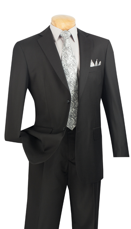 Vinci Mens Suit 2C900-2-BL  ( 2pc  Single Breasted Two Buttons, Side Vents, Flat Front Pants, Solid Color )