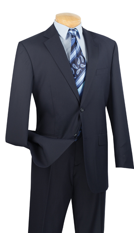 Vinci Mens Suit 2C900-2-NB  ( 2pc  Single Breasted Two Buttons, Side Vents, Flat Front Pants, Solid Color )