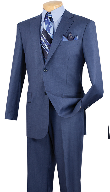 Vinci Mens Suit 2LK-1-BLU  ( 2pc Single Breasted, Two Buttons, Side Vents, Flat Front Pants, Textured Weave )