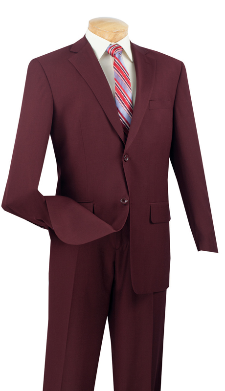 Vinci Mens Suit 2LK-1-BUR  ( 2pc Single Breasted, Two Buttons, Side Vents, Flat Front Pants, Textured Weave )