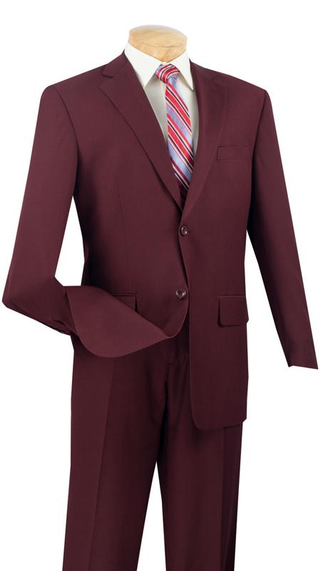Vinci Mens Suit 2LK-1-BUR  ( 2pc Single Breasted, Two Buttons, Side Vents, Flat Front Pants, Textured Weave )