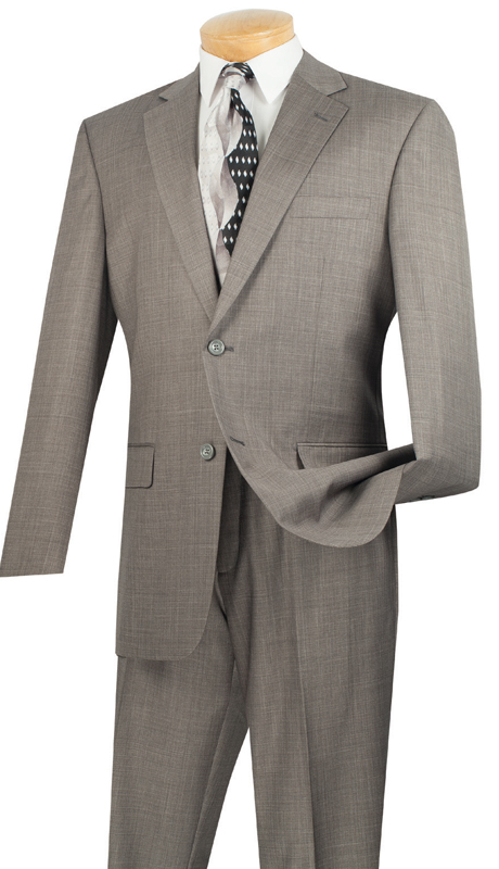 Vinci Mens Suit 2LK-1-GR  ( 2pc Single Breasted, Two Buttons, Side Vents, Flat Front Pants, Textured Weave )