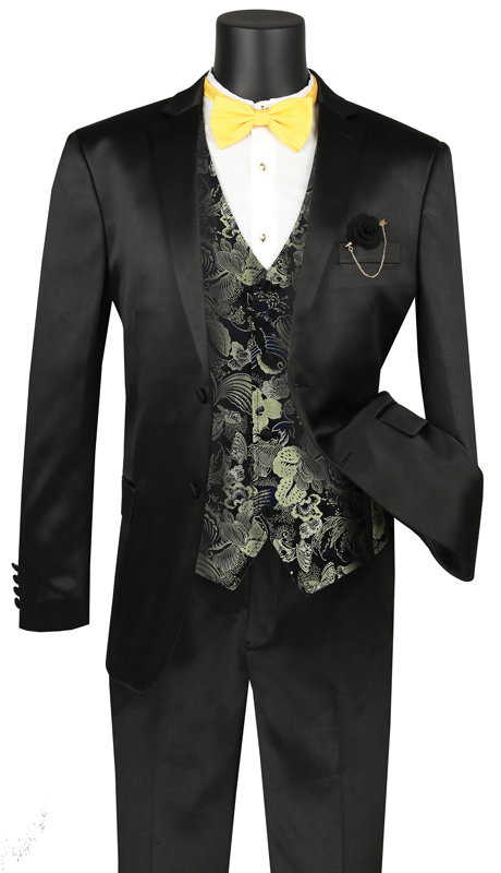 Vinci Mens Suit SVFF-2-BK ( 3pc Single Breasted 2 Buttons With Fancy Vest, Side Vents, Flat Front Pants, Solid Color )
