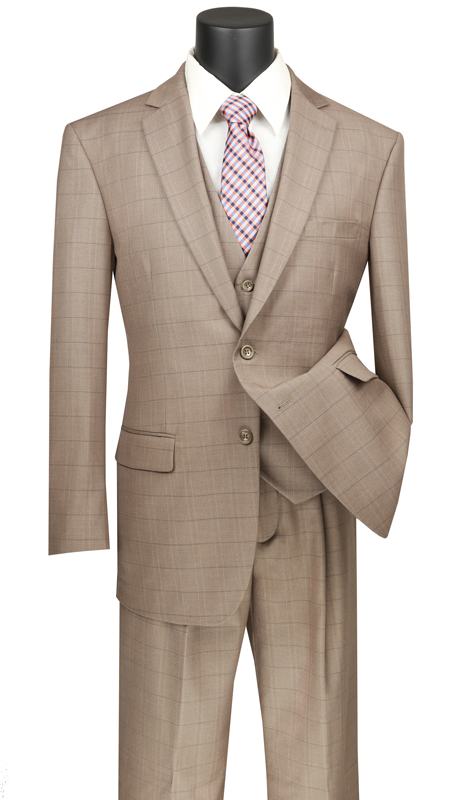 Vinci Mens Suit V2RW-15-TA ( 3pc Single Breasted 2 Buttons, With Shawl Collar Vest, Side Vents, Single Pleated Pants And Window Pane )