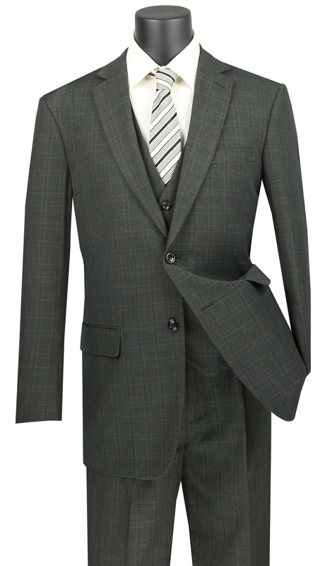 Vinci Mens Suit V2RW-15-OL ( 3pc Single Breasted 2 Buttons, With Shawl Collar Vest, Side Vents, Single Pleated Pants And Window Pane )